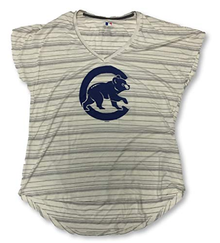 Majestic Chicago Cubs Womens V-Neck T-Shirts (Small 4/6, Stripes)