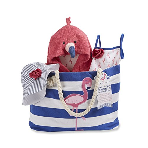 Baby Aspen Flamingo 4 Piece Nautical Gift Set with Canvas Tote for Mom