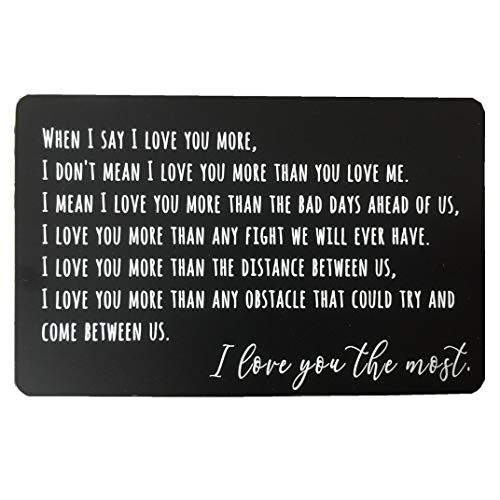 Luvimie Personalized Metal Wallet Card Anniversary Gifts for Men or Women Engraved Gifts for Boyfriend Valentines Day Gift Birthday Gifts Fathers Day Husband Gifts from Wife Love Note