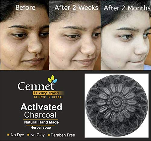 Mahalaxmi Creation Cennet Handmade Chemical Free Charcoal Soap For Women Skin Whitening, Natural Detox Face & Body Soap for Acne, Blackheads, Anti Wrinkle, Pimple Skin Care Charcoal Soap.  100 g.