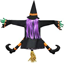 YONII Halloween batendo bruxa em árvore decoração de Halloween com sinal de aviso Don't Drink and Fly