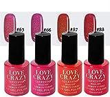 LOVECRAZY® Series Esmaltes de Uñas en Gel Permanente/Semipermanente para Manicura y Pedicura, 4 Esmaltes de Colores,Top Coat y Base Coat UV LED (63,66,87,88)
