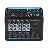 AM6 Audio Mixer 6 Channels Musical Mini Mixer Multi-function PC Interface Mixing Console Audio DJ Console Built-in Sound Card,Bluetooth,USB,48V Phantom Power for PC Recording,Singing,Webcast,Party