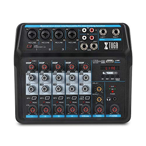 XTUGA AM6 6Channels Audio Mixer Sound Mixing Console with Bluetooth USB Record 48V Phantom Power Monitor Paths Plus Effects Use for home music production, webcast, K song (AM6)