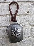 Deko-Impresion Klangvolle Kuhglocke, Glockenschelle, Eisen, grau Lederband, 25 cm