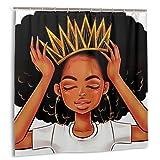 Cortina de baño, Mujeres afroamericanas Chica con Corona Afro Girls African Queen Princess Set de Cortinas de baño con Ganchos