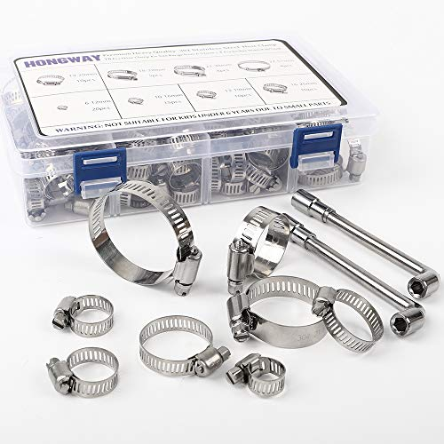 Hose Clamp, HongWay 78 Pack Stainless Steel Assortment Adjustable Range 1/4-2in(6-51mm), 304 Stainless Steel Hose Clamp with 2pcs Socket Wrench, for Plumbing, Automotive and Mechanical Application