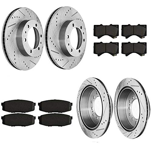 Compatible for 2010 2011-2014 Toyota FJ Cruiser Front+Rear Brake Rotors +Pads