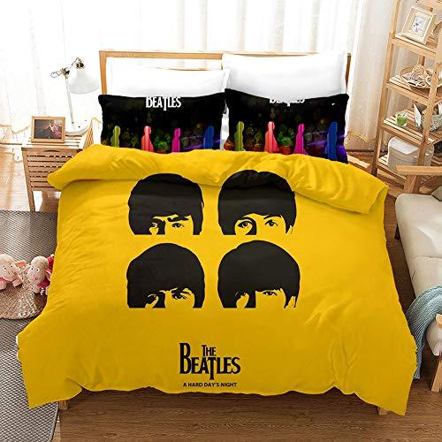 Probuk The Beatles Rockband - Juego de ropa de cama 100% microfibra, ropa de cama con funda de almohada (A-05,150 x 200 cm (80 x 80 cm)