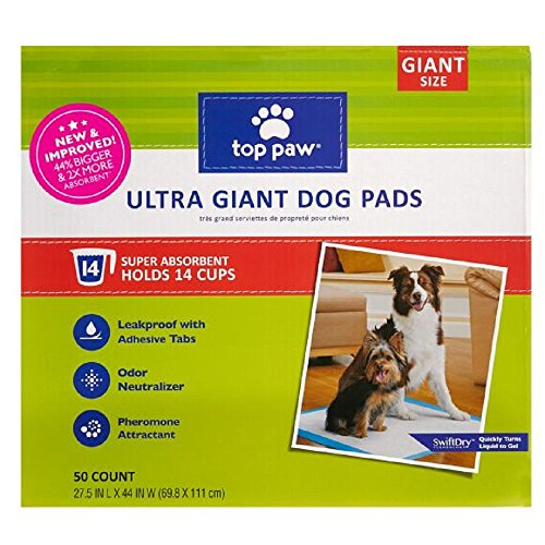 Top Paw New & Improved Ultra Giant Dog Pads | 44% Bigger & 2X More Absorbent (50 Count - 1 Pack)