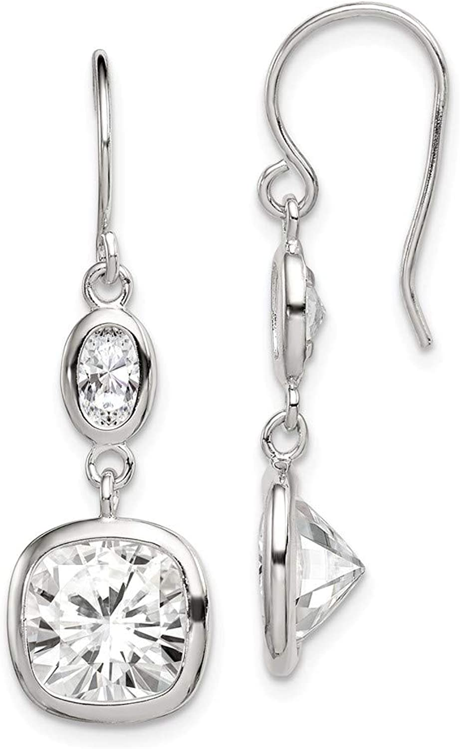 Beautiful Sterling silver 925 sterling Sterling Silver CZ Square Dangle Earrings