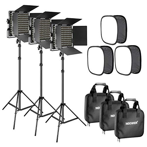 Neewer 3 Packs Bi-color 660 LED Video Light with Stand and Softbox Kit: (3)3200-5600K CRI96+ Dimmable Light with U Bracket and Barndoor(3)Light Stand (3)Softbox for Studio Photography Video Shooting