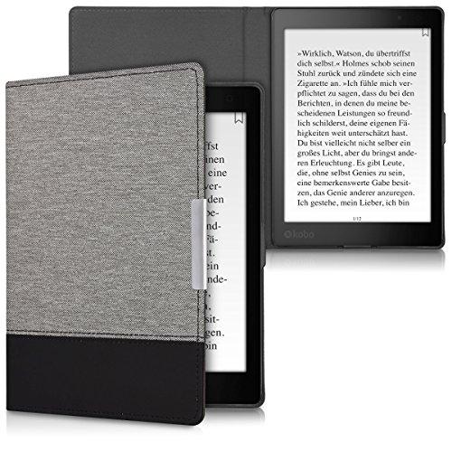 kwmobile Cover Compatibile con Kobo Aura One - Custodia a Libro in Tela e Pelle PU - Flip Case per eReader