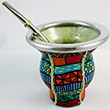 Argentina Mate Gourd Tea Glass Cup Thick Bombilla Straw Diet Drink Kit Set 2579