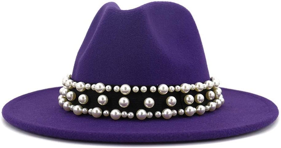 HXGAZXJQ Men's Women's Fashion Autumn Winter Wide-Brimmed Fedora Hat Cotton Party Travel Hat 2020 Panama Formal Hat (Color : Purple, Size : 56-58cm)