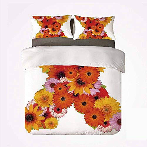 Duvet Cover Set Letter X Various 3Bedding Set,X Letter Shape Alphabet with Multicolored Daisies Leafs and Petals Nature Elements Decorative for Home
