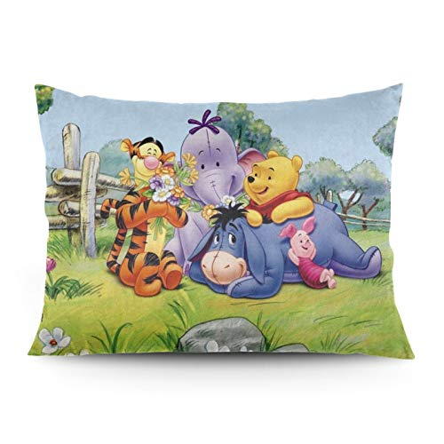 Omigge Cute Cartoons Square Throw Pillow Case, Soft Velvet Cushion Cover With Hidden Zippe For Couch Sofa Home Bed Decoration,Disney Winnie Pooh Eeyore Flower