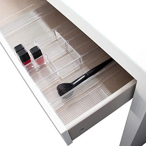 Hausfelder ORDNUNGSLIEBE Schubladen Make-Up Organizer, passend zur IKEA Malm Kommode, Schminktisch Frisiertisch Aufbewahrungsboxen (10-teilig, für eine halbe Schublade)