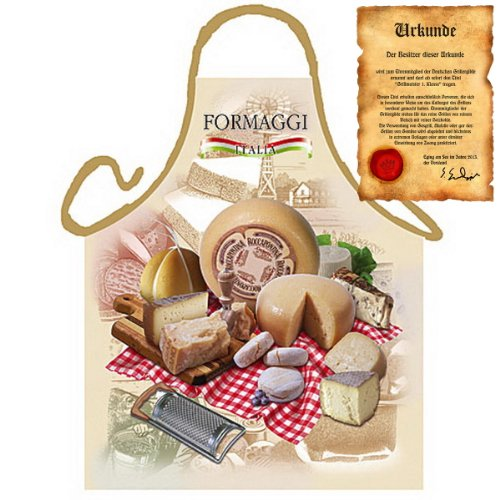 Grillschürze mit Urkunde - Italienischer Käse - Lustige Motiv Schürze als Geschenk für Grill Fans mit Humor - NEU mit gratis Zertifikat
