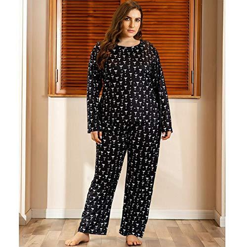 Conjunto De Pijamas De Talla Grande para Mujer, Pijamas para Mujer, Ropa De Dormir De 2 Piezas para Mujer, Camiseta Y Pantalones De Manga Larga, Ropa De Dormir Y Ropa De Dormir(Color:Negro,Size:2XL)