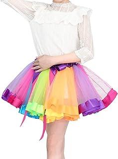 Ypser Rainbow Tutu Skirt Layered Ballet Tulle Skirts for Girls Women Halloween Dress