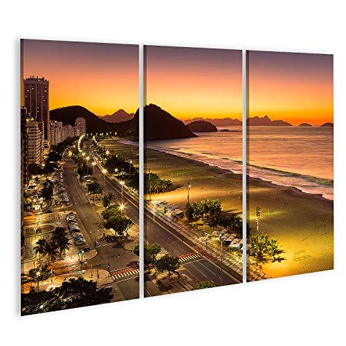 islandburner Cuadro en Lienzo Playa de Copacabana al Amanecer en Río de Janeiro Brasil Cuadros Modernos Decoracion Impresión Salon