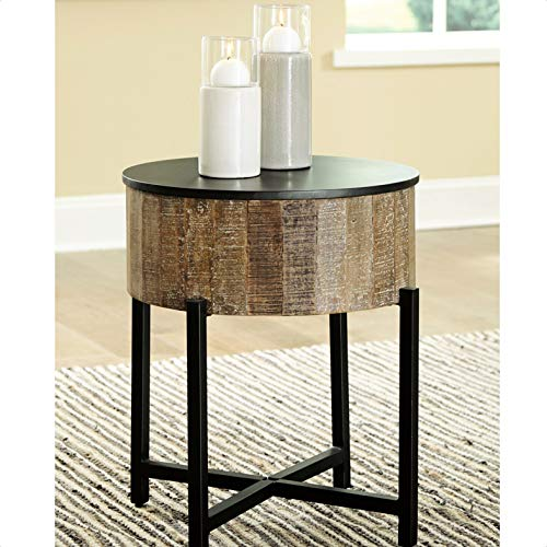 Sumeyya End Table with Storage, Convenient Drum Design with Hidden Storage Under lid, Overall: 24'' H x 22'' W x 22'' D
