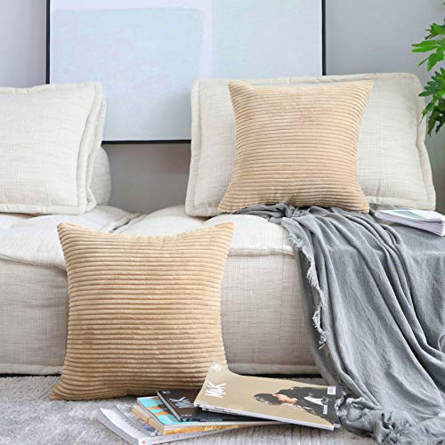 Home Brilliant Supersoft Striped Velvet Corduroy Decorative Throw Toss Pillowcase Cushion Cover for Chair Mother's Day Decorations Spring, Taupe, 2 Pack(50x50 cm, 20inch)