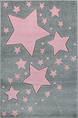 Livone Hochwertiger Kinderteppich Kinderzimmer Babyteppich mit Sternen Punkte in Silber grau rosa Größe 120 x 170 cm