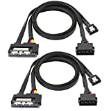 SATA 6G Data Cable, SATA Power 2-in-1 Extension Cord, LP4 IDE to SATA 15P Female with Serial ATA III 7 Pin Female for HDD, SSD, Optical Drives, DVD Burners, PCI Cards etc - 19.7in (2 Pack)