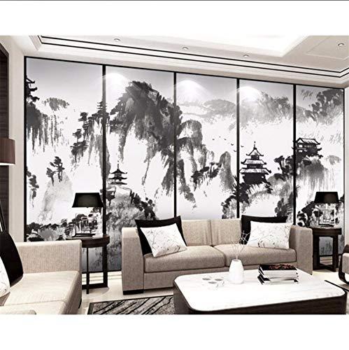 Pmhhc papier Peint Personnalisé Maison Décoratif Encre Murale Paysage Pin Arbre Tv Canapé Chambre Fond Peintures Murales 3D Fond D'Écran 400 x 280 cm.
