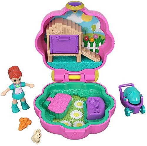 Polly Pocket Mini-Coffret rose La Maison Lapin de Lila avec 1 mini-figurine et accessoires carottes, chiot et poussette, jouet enfant, GCN08