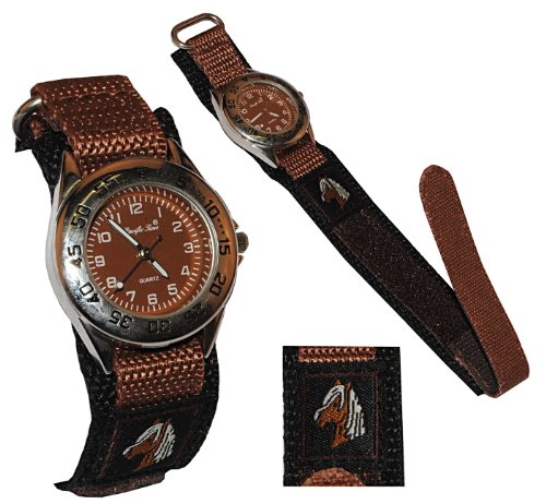 alles-meine.de GmbH Kinderuhr Pferd mit Klettband / Stoff Armband braun - Uhr Kinder Armbanduhr Tier Tiere Pferde Analog