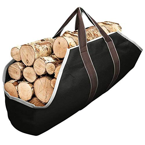 Outdoor Canvas Log Carrier Bag, Fireplace Firewood Storage Bag Totes Holders, Large Capacity Log Holders, Canvas Firewood Bag,Black (Size : 36.6 * 17.7 inches)