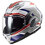 LS2 Helmets Valiant II Revo Modular Helmet (White Red Blue - X-Large)