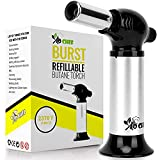 Burst Kitchen Torch, Blow Torch - Refillable Butane Torch With Adjustable Flame & Safety Lock- Culinary Torch, Creme Brûlée Torch For Cooking Food, Baking, BBQ & More + FREE Recipe E-Book By Jo Chef