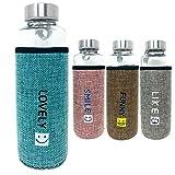 Botella de Cristal con Funda de Neopreno Antideslizante, Botella de 400ml, Botella de Agua Reutilizable, Tapa de Acero Inoxidable, Envío de modelos aleatorios 1 Unidad