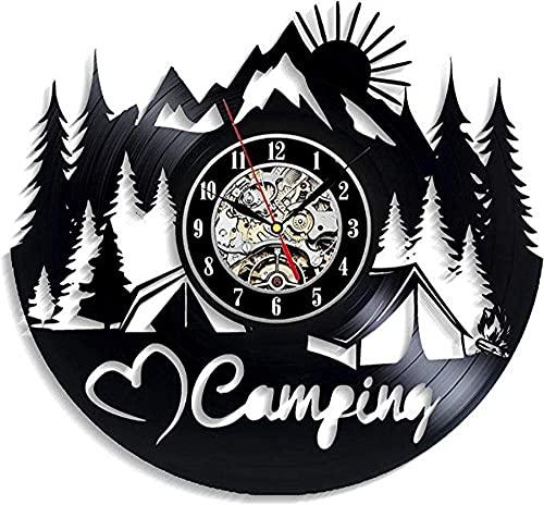 Reloj de pared de vinilo para acampar, diseño elegante para novio, niña, decoración para sala de estar, cocina, árboles, campista, campamento de verano, tiendas de campaña, remolque de vacaciones