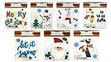 Christmas Winter Gel Sticker Window Clings Decoration Decor Bundle with Santa Snowman Snowflakes