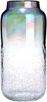 Iridescent Crackle Glass Vase Large