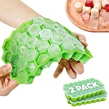 Ice Cube Trays (2-Pack) - Hexagonal & Stackable Ice Trays for Freezer - Flexible Silicone Matrix...