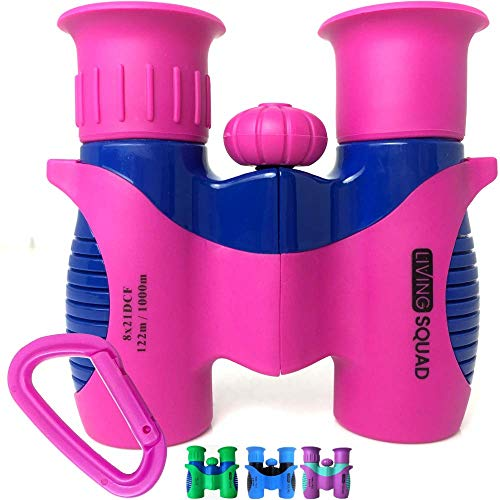 Kids Binoculars Pink, Green and Purple 8×21 Shockproof Compact Binoculars