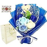 ソープフラワー 薔薇 造花 プレゼント くまちゃん付き 贈り物 記念日 お祝い 可愛い (ブルー)