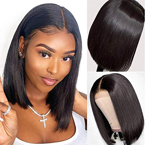 Glueless Short Bob Wigs Human Hair 4x4 Lace Front Wigs for Black Women Glueless Brazilian Virgin Lace Frontal Wigs Human Hair Straight Bob Lace Front Wigs 150% Density Pre Plucked Hairline with Baby Hair for Womem