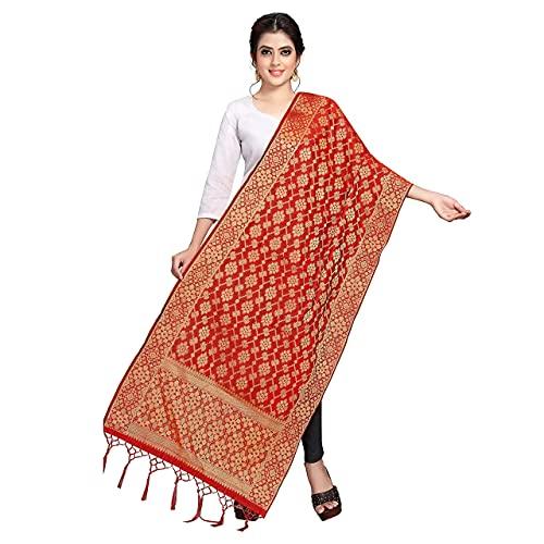 TreegoArt Fashion Damen Banarasi Seide bedruckt Dupatta Stola Chunni Schal Schal-Rot