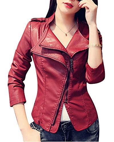Quge Chaquetas Mujer Cremallera Jackets Imitacion Cuero Blázer Moto Cazadoras Biker Abrigos Vino Rojo L