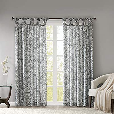 """Madison Park Yvette Twist Tab Paisley Printed Curtain Panel Window Treatment Drapes for Bedroom Living Room and Dorm, 50""""X63"""", Grey"""