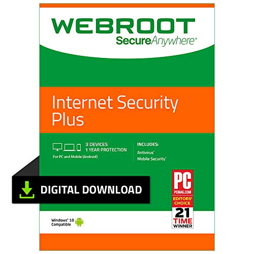 Webroot Internet Security Plus with Antivirus Protection – 2019 Software | 3 Device | 1 Year Subscription | PC Download