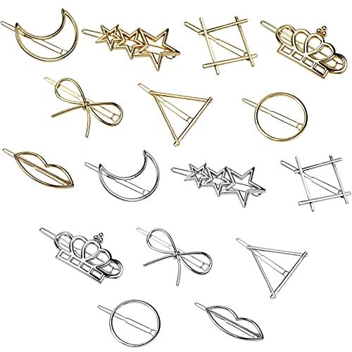 Pingsheng 16 Piezas Horquillas Pelo para Niña y Mujeres, Estrellas para el Pelo en Metal, Pinza Pelo Geometría con Luna Estrella Cuadrado Corona Labio Círculo Triángulo Mariposa Forma(Oro + Plata)