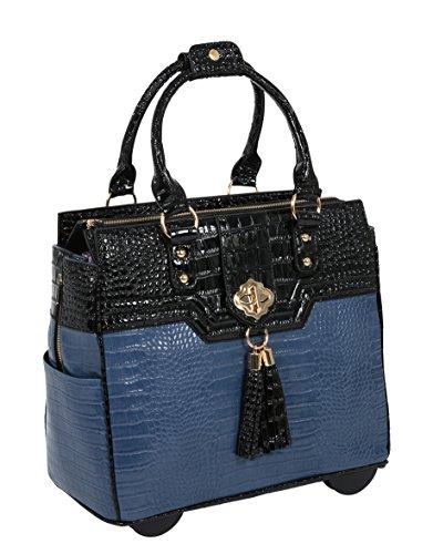 THE OCEANSIDE Blue & Black Alligator Compatible With Computer iPad, Laptop Tablet Rolling Tote Bag Briefcase Carryall Bag